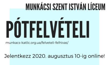 A Munkácsi Szent István Líceum pótfelvételt hirdet a 8., 9. és 10. osztályba.